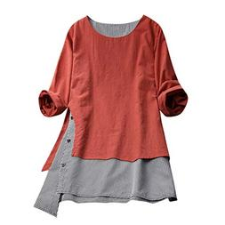 Corriee Tops for Women Cotton Linen Plus Size Blouses Womens