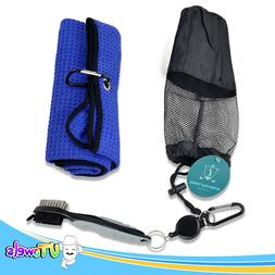 Golf Towel Microfiber 21x16 Retractable Ball Cleaner Brush C