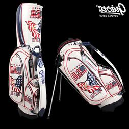 "USA Eagle Golf Stand Bag Pu Leather Carry Bag 8-ways 9.0""com"