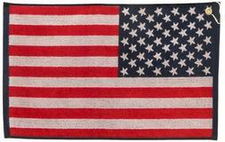 JP Lann Golf USA Flag Golf Towel - Jacquard Style, Red/White
