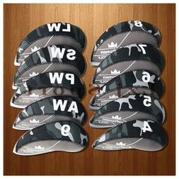 10PCS 4#-LW Golf Iron Covers Headcovers For Cobra Taylormade