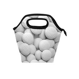 ALAZA White Golf Balls Lunch Bag Insulated Portable Twill We