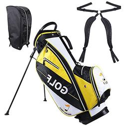 AW Yellow Golf Stand Bag 15x11x35' 600D Golf Carry Bag 14-Wa